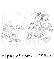 Cartoon Of A Black And White Sketched Businessman Dropping A Briefcase Royalty Free Vector Illustration