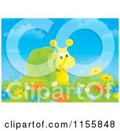 Cartoon Of A Snail In A Field Of Wildflowers Royalty Free Illustration by Alex Bannykh