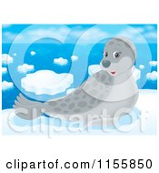 Cartoon Of A Cute Gray Seal On Arctic Ice Royalty Free Illustration by Alex Bannykh