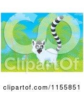 Cartoon Of A Wild Lemur Near Palm Trees Royalty Free Illustration by Alex Bannykh