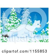 Cartoon Of A Cute White Weasel In The Snow Royalty Free Illustration by Alex Bannykh