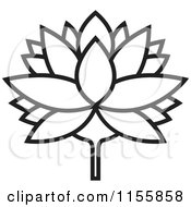 Clipart Of A Black And White Outlined Lutus Water Lily Flower Royalty Free Vector Illustration