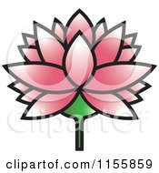 Clipart Of A Pink Lutus Water Lily Flower Royalty Free Vector Illustration