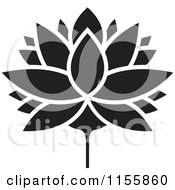 Clipart Of A Black And White Lutus Water Lily Flower Royalty Free Vector Illustration by Lal Perera
