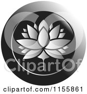 Clipart Of A Silver Lotus Water Lily Flower Icon Royalty Free Vector Illustration by Lal Perera