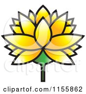 Clipart Of A Yellow Lutus Water Lily Flower Royalty Free Vector Illustration by Lal Perera