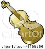 Clipart Of A Gold Violin Royalty Free Vector Illustration by Lal Perera