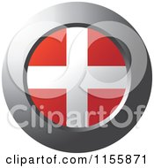 Clipart Of A Chrome Ring And Denmark Flag Icon Royalty Free Vector Illustration