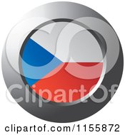 Clipart Of A Chrome Ring And Czech Flag Icon Royalty Free Vector Illustration
