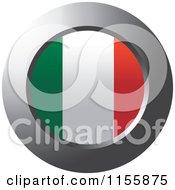 Clipart Of A Chrome Ring And Italy Flag Icon Royalty Free Vector Illustration