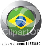 Clipart Of A Chrome Ring And Brazilian Flag Icon Royalty Free Vector Illustration
