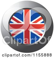 Clipart Of A Chrome Ring And UK Flag Icon Royalty Free Vector Illustration