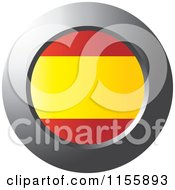 Clipart Of A Chrome Ring And Spain Flag Icon Royalty Free Vector Illustration