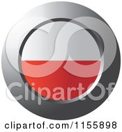 Clipart Of A Chrome Ring And Poland Flag Icon Royalty Free Vector Illustration