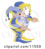 Old Joker Or Jester Man Gesturing With His Hands Clipart Illustration