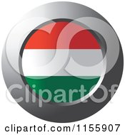 Clipart Of A Chrome Ring And Hungary Flag Icon Royalty Free Vector Illustration