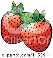 Clipart Fresh Red Strawberries On A Black Square - Royalty Free ...