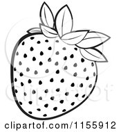 Clipart Of A Black And White Strawberry Royalty Free Vector Illustration