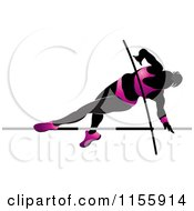 Clipart Of A Silhouetted Woman Pole Vaulting In A Pink Suit 2 Royalty Free Vector Illustration
