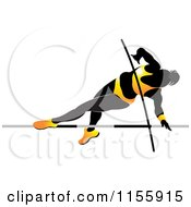 Clipart Of A Silhouetted Woman Pole Vaulting In A Yellow Suit 2 Royalty Free Vector Illustration
