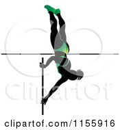 Clipart Of A Silhouetted Woman Pole Vaulting In A Green Suit Royalty Free Vector Illustration