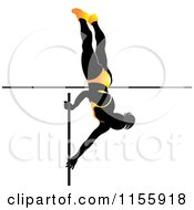 Clipart Of A Silhouetted Woman Pole Vaulting In A Yellow Suit Royalty Free Vector Illustration