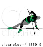 Clipart Of A Silhouetted Woman Pole Vaulting In A Green Suit 2 Royalty Free Vector Illustration