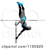 Clipart Of A Silhouetted Woman Pole Vaulting In A Blue Suit 2 Royalty Free Vector Illustration
