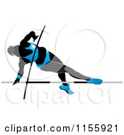 Clipart Of A Silhouetted Woman Pole Vaulting In A Blue Suit Royalty Free Vector Illustration