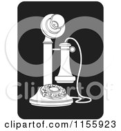 Clipart Of A Black And White Candlestick Telephone Icon Royalty Free Vector Illustration