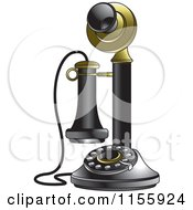 Clipart Of A Black And Gold Candlestick Telephone Royalty Free Vector Illustration