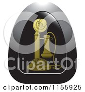 Clipart Of A Gold Candlestick Telephone Icon Royalty Free Vector Illustration