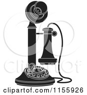 Clipart Of A Black And White Candlestick Telephone 1 Royalty Free Vector Illustration