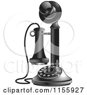 Clipart Of A Black And White Candlestick Telephone 2 Royalty Free Vector Illustration