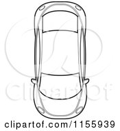 Clipart Of An Aerial View Of An Outlined Car Royalty Free Vector Illustration by Lal Perera