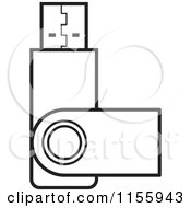 Clipart Of An Outlined USB Flash Drive Royalty Free Vector Illustration