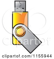 Clipart Of A Yellow USB Flash Drive Royalty Free Vector Illustration