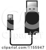 Clipart Of A USB Flash Drive And Cable Royalty Free Vector Illustration by Lal Perera