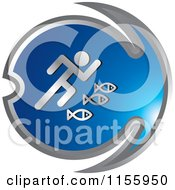 Clipart Of A Blue Fishing Icon 3 Royalty Free Vector Illustration