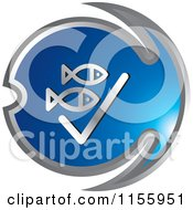 Clipart Of A Blue Fishing Icon 4 Royalty Free Vector Illustration