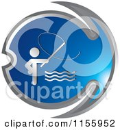 Clipart Of A Blue Fishing Icon 1 Royalty Free Vector Illustration