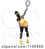Clipart Of A Silhouetted Swinging Tennis Woman In A Yellow Outfit Royalty Free Vector Illustration by Lal Perera