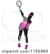 Clipart Of A Silhouetted Swinging Tennis Woman In A Purple Outfit Royalty Free Vector Illustration by Lal Perera