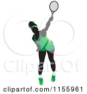Clipart Of A Silhouetted Swinging Tennis Woman In A Green Outfit Royalty Free Vector Illustration by Lal Perera