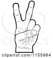 Clipart Of An Outlined Victory Hand Royalty Free Vector Illustration