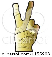 Clipart Of A Gold Victory Hand Royalty Free Vector Illustration
