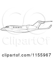 Clipart Of A Black And White Commercial Airliner Royalty Free Vector Illustration