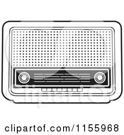 Clipart Of A Black And White Retro Radio Royalty Free Vector Illustration