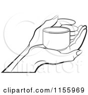 Clipart Of An Outlined Hand Holding A Small Cup Royalty Free Vector Illustration