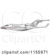Clipart Of A Silver And Red Commercial Airliner Royalty Free Vector Illustration